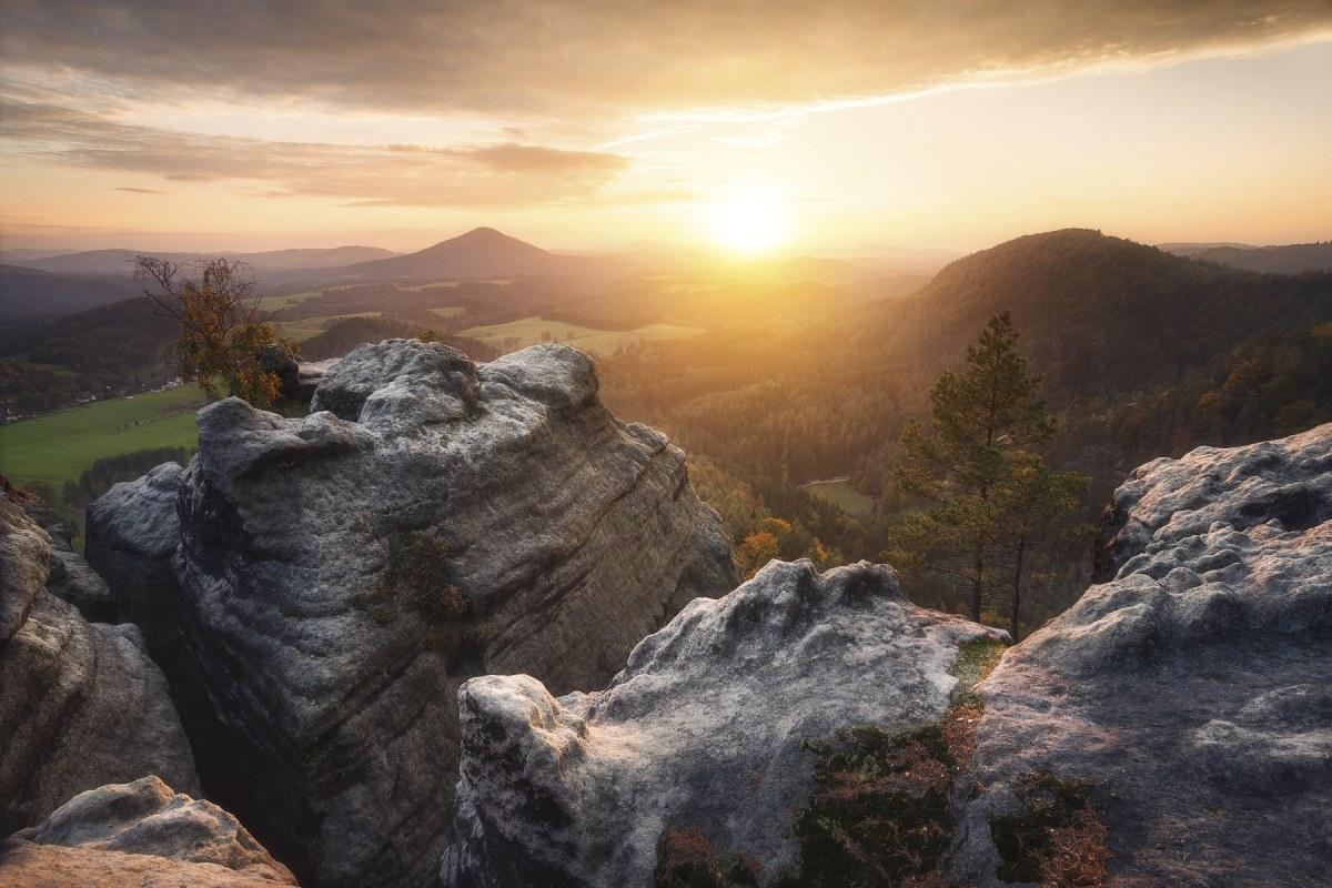 Západ slunce z Vilemíniny vyhlídky