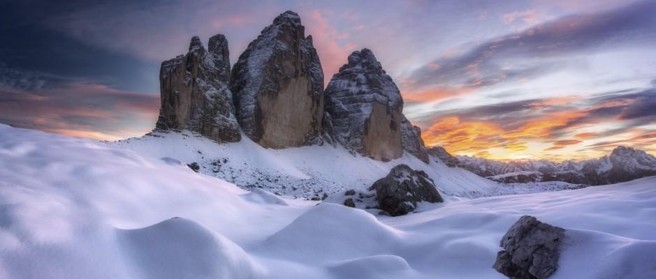 1 - Západ slunce nad Tre Cime di Lavaredo